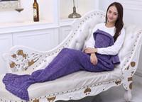 Wholesale Adult Handmade Mermaid Tail Blankets Crochet Mermaid Blankets Mermaid Tail Sleeping Bags Cocoon Mattress Knit Sofa Blankets Free Ship