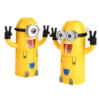Wholesale 20pcs DHL Cute Minions Design Wash Set Toothbrush Holder Automatic Toothpaste Dispenser with Brush Cup