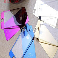 Wholesale 2 D mm ultrathin Tempered Glass Screen Protectors Full body Anti privacy Colorful film front back stickers for iphone se s plus