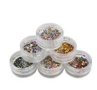 Wholesale 1 set Color New Design Round Shape Nail Glitter Powder Dust D Nail Art Decorations Nail Art Bottle Tip Set DIY Tools