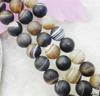Wholesale 10mm Matte Black White Dream Fire Stripe Agate Gems Round Loose Beads quot AA