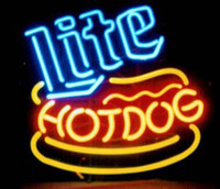 bars hot dogs - Miller Lite Hot Dog Neon Sign Handcrafted Custom Real Glass Tube Store Hot dog Bar Club Fast Food Advertising Display Neon Signs quot X14 quot