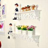 Wholesale 1pc White Wall Hanging Shelf Goods Convenient Rack Storage Holder Home Bedroom Decoration Ledge Home Decor S M L