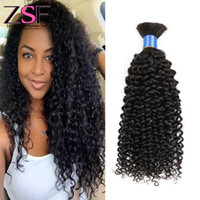 Wholesale ZSF Hair A Brazilian Human Hair Bulk Kinky Curly Hair Natural Color No Weft Brazilian Human Hair Bulk Mix Length
