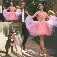 Wholesale 2016 New Arrival Beautiful Pink Appliqued Homecoming Dresses Short Prom Dresses Custom Made Cocktail Graduation Party Dress