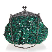 bags n bows - Green Chinese Women s Beaded Sequined Wedding Evening Bag Clutch handbag Bride Party Purse Makeup Bag N
