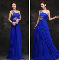 Wholesale New Sexy Long Prom Dresses One Shoulder Zipper Chiffon Floor length Column Sleeveless Formal Party Evening Prom Gowns