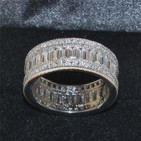 El cuadrado de la plata esterlina de la manera 925 pavimenta el ajuste Zircon lleno Simulated la piedra preciosa del diamante suena la joyería de las vendas de la boda del contrato para las mujeres