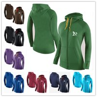 athletic sports jackets - cheap New Women s Hoodies Oakland Athletics Tracksuits Jacket Zipper Sport Fleece sweatshirt Mixed order