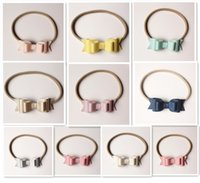 Wholesale 2016 NEW PU Plain PU Faux Litchi Stria Leather Hair Band Hair Bows Multi Level Elastic Headbands Synthetic Headbands Top Quality Kids