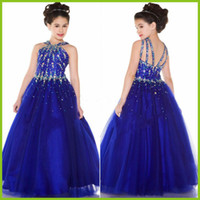 Wholesale For Father s Day Rhinestone Flower Girls Dresses Royal Blue Sleeveless Dresses Birthday Party Dress Kids Girl s Formal Pageant Dresses
