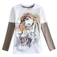 animal clothing shops - Long Sleeve Patchwork Tiger White Boyes Clothes Spring Autumn For years Cotton old Warm school shopping party