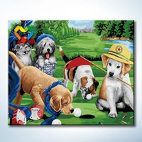 Wholesale Golf Dogs Wall Art DIY Painting Baby Toys x60cm Educational Canvas Oil Painting Drawing Wall Art for Children with Wooden Frame