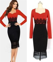 Wholesale Office Women Lace Work Dresses Spring Patchwork OL Long Sleeve Bodycon Plus Size Pencil Dress Sexy Red Black Casual Party Dress NSH15