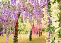 Wholesale Elegant Artificial Flowers Simulation Wisteria Vine Wedding Decorations Long Short Silk Plant Bouquet Room Garden Bridal Accessories Cheap