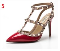 beige slingback heels - 2016 New Fashion Designer Two Tone Slingback Sandal cm Red Patent Leather T Strap Pumps Women Rivets High Heels Ladies Shoes