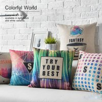 best sofa color - Modern Fantasy Color Geometry Triangles Patterns Cushion Covers English Letters Try Your Best Pillowcase Sofa Linen Cotton Pillow Cover