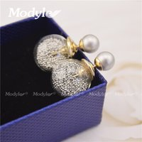 Cheap Wholesale-2016 new design 18K gold plated fashion jewelry thick glass beads stud earrings double ball earrings for women Christmas gift