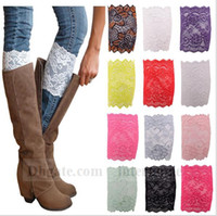 ballet stretches - Women Lace Boot Cuffs Ballet Lace Leg Warmers Flower Leg Warmer Fashion Boot Cuff Stretch Trim Toppers Christmas Boot Socks Covers New B1257