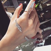 With Side Stones asian modeling - Micro set open hand bracelet temperament wings modeling palm ring