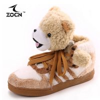 Wholesale ZOCN Bear Couple Shoes Autumn Winter Women Men Boots Cartoon Men Women Ankle Boots Full Fur Snow Boots Lovely Lovers Boots