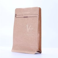 alu paper - 2016 Hot Sale x19cm Alu Foil Flat Bottom Brown Paper Bags Kraft Paper Stand Up Pouches Coffee Paper Packaging With Valve
