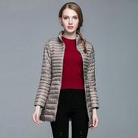 Wholesale Fashion Brand Designer Women Ultra Light White goose down Jacket Long Coat Parka Stand Collar Women Brief slim Down Jacket Plus Size S XL
