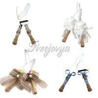 Wholesale New set Burlap Wedding Cake Knife Server Set Cake Stainless Steel Cutter Set with Gift box Weeding Favors Decor