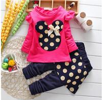 autumn children s clothing - Autumn kids suit girl Minnie clothes polka dots top skirt pant set pieces children clothes suit cotton clothing s l