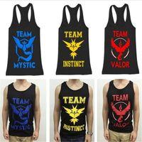 Wholesale Poke tanktop vest team instinct valor mystic tank tops summer women men kids casual sports wear sleeveless t shirt vests