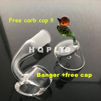 Wholesale 4mm quartz banger nails with free nail glass carb cap mm mm mm dab quartz domeless e nails banger cap for Enail kits