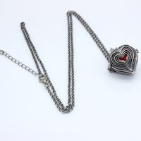 Wholesale Charms Antique Silver Multilayers Heart Hollow Cage Locket Fragrance Essential Oil Aromatherapy Diffuser Necklace Womens Jewelry