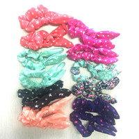 Wholesale 12PCS Girl s Cute Rabbit Ears Hair Rubber Bands Multi Little Star And Flower Pattern Mixed Colors Lovely Nifty Wave Girl s Hairband