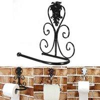 Wholesale Vintage Black Iron Toilet Paper Roll Holder Bathroom Wall Mount Rack toilet paper holder