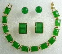 anniversary cufflinks - gt gt gt Charming Green Jade pendant bracelet earring Cufflinks set