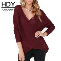 Wholesale HDY Haoduoyi Wrap Plunge Neck Pullover Long Sleeve Solid Red Blue Jumper Street Style Stepped Hem Sweater Women Clothes