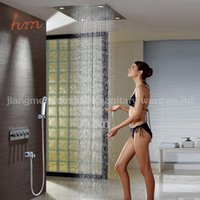 Wholesale Ceiling Shower Waterfall Electric - Hot Sale Rainfall Waterfall 4 function embedded ceiling rain electric shower head set with led light
