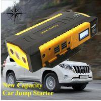 Wholesale New High Capacity V Multi Function Car Jump Starter USB Power Bank Mini Compass SOS Lights A Peak Car Charger mah Free Ship