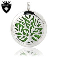 Wholesale Hot Tree Design Stainless Steel Aromatherapy Perfume Lockets Silver Essential Oil Locket Pendant Necklace with free Pads Men Women Jewelry