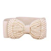 beaded stretch belt - Amazing Fashion Lady Bowknot Stretch Elastic Wide Belt Pearl Women Waistband Black Khaki New Arrival