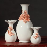 best cabinets - 3pcs suite ceramic vase Rilievi Pattern ornaments for living room TV cabinet houses Home Furnishing Decor Best Gifts