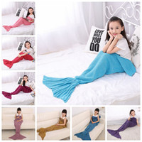 Wholesale Kids Crochet Mermaid Blankets Handmade Mermaid Tail Blankets Mermaid Tail Sleeping Bag Knit Sofa Nap Blankets Costume Cocoon A1242