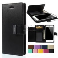 Cheap GOOSPERY Mercury Rich Diary Wallet PU Leather Case TPU flip Cover for iphone 5s 6 6s Plus Samsung galaxy S5 S6 S7 Edge Note 5 LG G5 Sony Z3