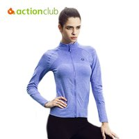 Wholesale Actionclub Women Stretch Zipper Tops Outdoor Sports Quick Dry Running Long Sleeved Shirts Femal Fitness Yoga Coat WC1534