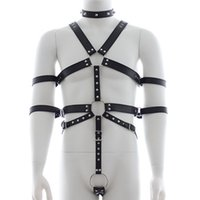activity games adults - top quality Men Sexy Leather Breast Bounded Clothes Bondage Belt Sex Slave Roleplay Toys Adult Sexy Games Nightclub activity Wear