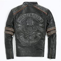 Wholesale 2016 Men Retro Vintage Leather Biker Jacket Embroidery Skull Pattern Black Slim Fit Men Winter Motorcycle Coat