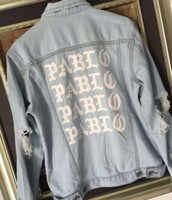 arm slimming sleeves - New autumn pablo jacket kanye west Mens hip hop cotton washed ripped denim jeans jacket with hole on the arm M195