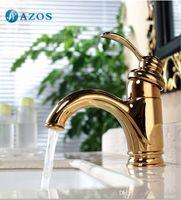 Wholesale AZOS Bathroom Basin Tap Brass Golden Color Single Hole Deck Mount Hot Cold Mixer Toilet Sink Faucet Furniture Replacements MPDKZ048G