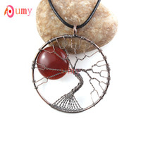 agate copper wire - Trendy Copper Plated Red Agate Moon Wire Winding Tree Life Pendant Necklace Fashion Jewelry