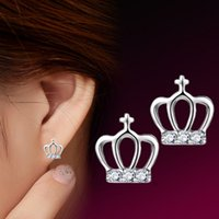 Wholesale Small Silver Cross Sterling - Fashion Delicate Sterling Silver Crown Inlaid Crystal Mini Cross Small Stud Earrings Jewelry for Women